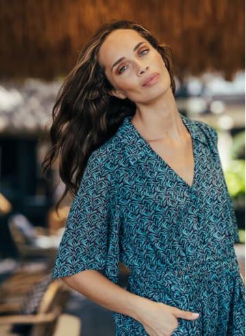 ROBE EDENA - Imprimé Palm Garden - Robes - Vêtements Bio - Palem Brand