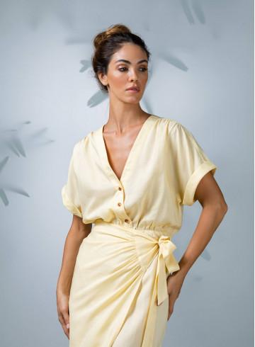DRESS PEMALA - Yellow - Dresses - Vêtements Bio - Palem Brand
