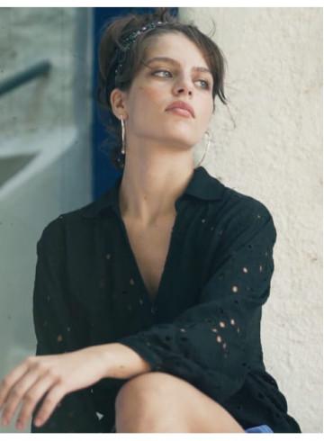 CHEMISE ANABEL - Noir - Tops & chemises - Vêtements Bio - Palem Brand