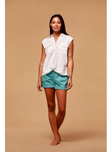 CHEMISE FLORES - Blanc - Tops & chemises - Vêtements Bio - Palem Brand