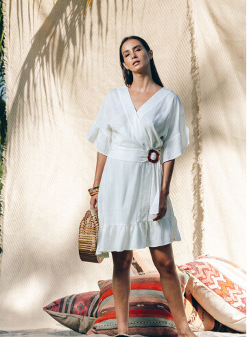 IRIMA DRESS IN WHITE -PALEM