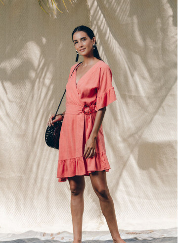 IRIMA DRESS IN ORANGE -PALEM