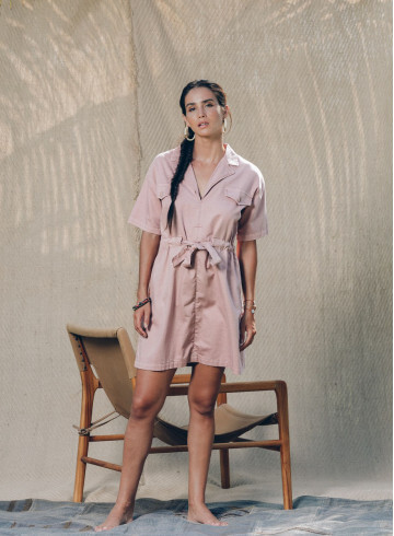 EMIRI DRESS IN TERRACOTTA -PALEM