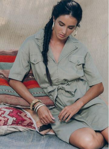 EMIRI DRESS IN EUCALYPTUS -PALEM