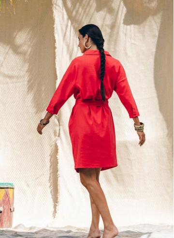 WANITA DRESS IN RED -PALEM