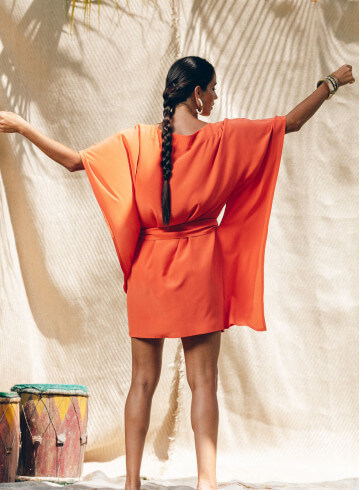 AATA ORANGE DRESS -PALEM